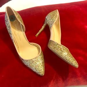 NEW Jessica Simpson Gold Glitter Pointy Heels 8
